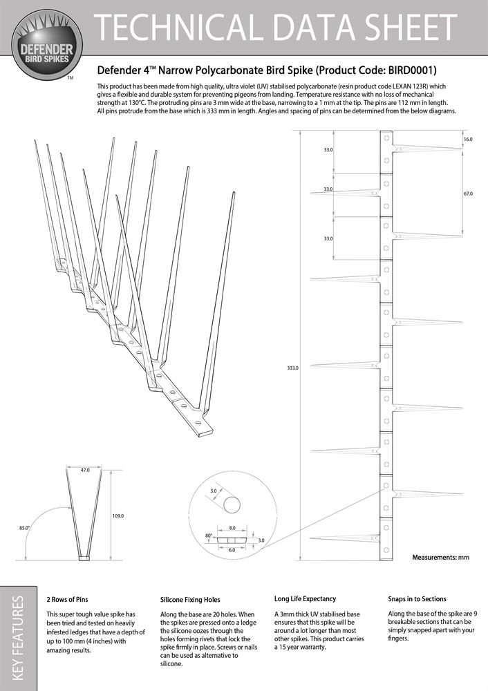 Defender 4™ Narrow Plastic Pigeon Spikes - Technical Data Sheet